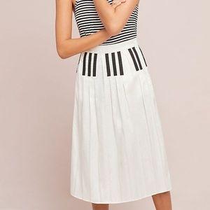 Anthropologie Pleated Piano Midi Skirt new